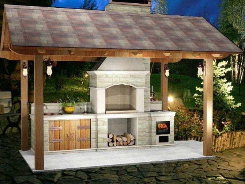 Садовая печь барбекю из кирпича с мангалом своими руками