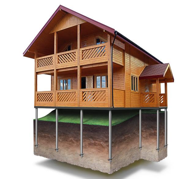 Фундамент дома SIP на винтовых сваях