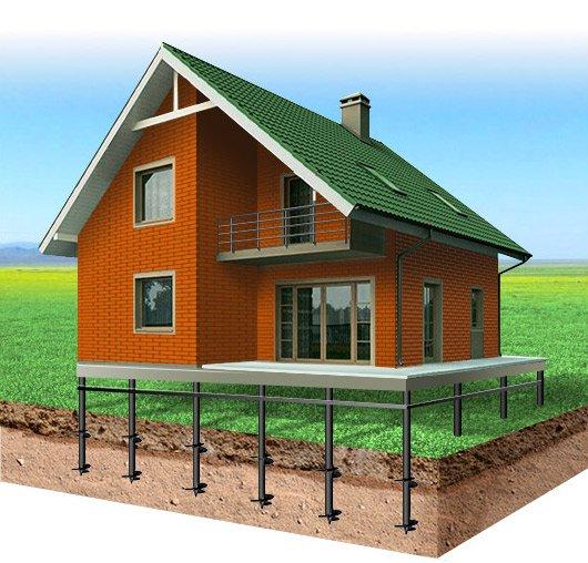 Винтовые сваи - фундамент кирпичного дома